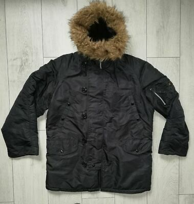 """Alpha Industries """"M"""" N-3B Black Extreme Cold Weather Parka Flight Jacket Jacke for sale  Shipping to Ireland"""