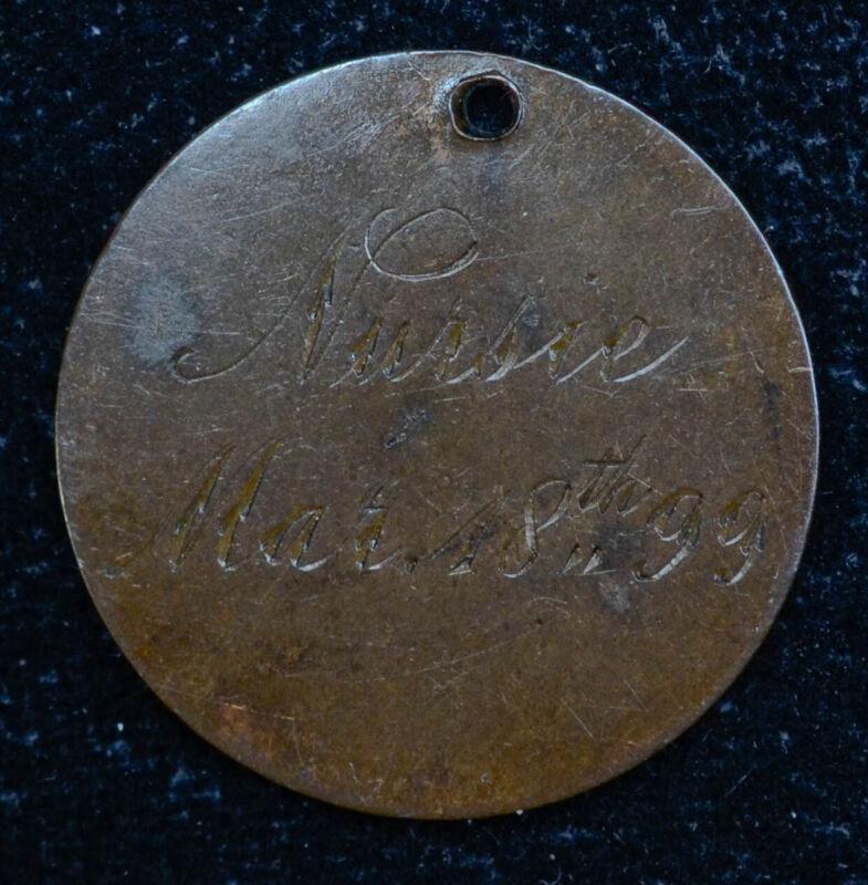 Love Token Engraved Nursie Mar 18 99 on Great Britain Victoria Farthing