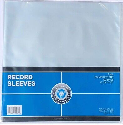 (100) New CSP 33 1/3 RPM Record Album Clear Polypropylene Sleeves 12.75 X 13
