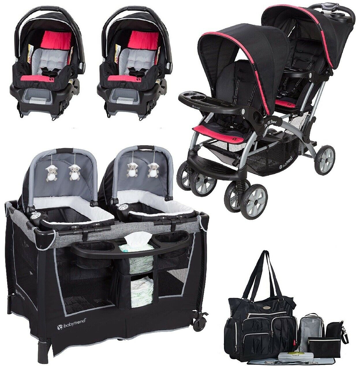 Baby Girls Combo System Nursery Center Twins Double Stroller