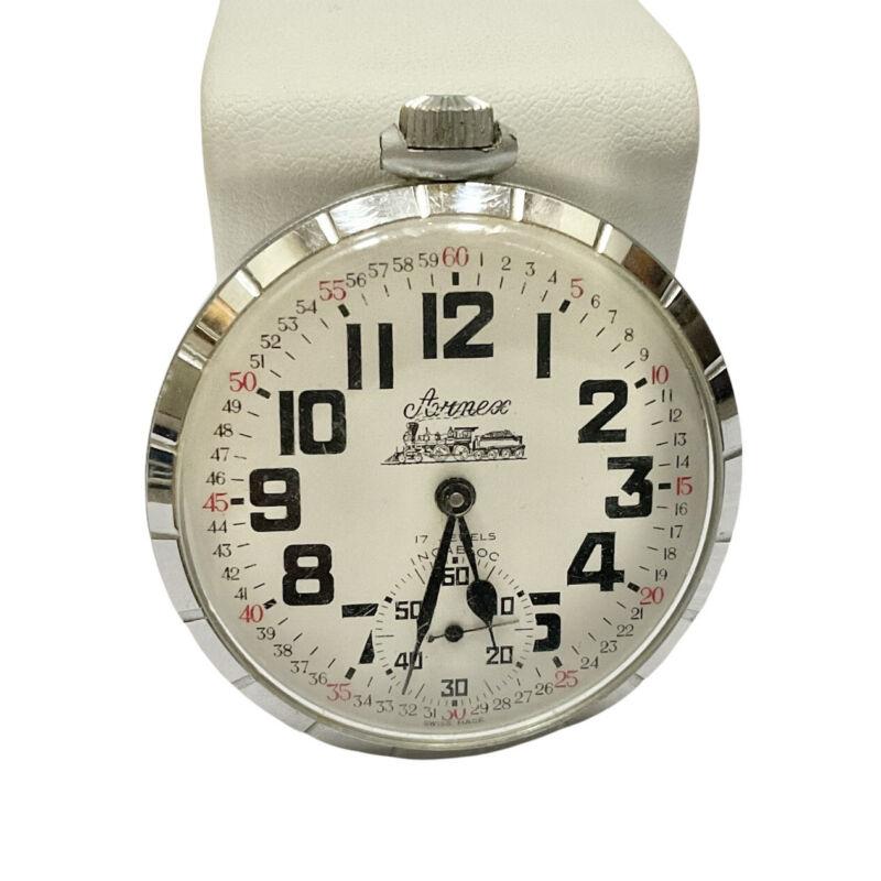 Vintage Arnex Pocket Watch Wind Up Railroad 17 Jewels Incabloc Swiss Made Runs