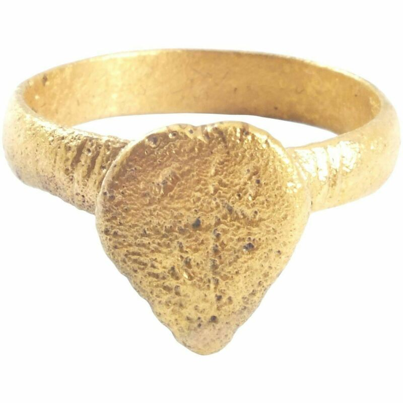 ANCIENT VIKING GILT HEART RING C.900-1050 AD SIZE 10 ¼ Authentic Jewelry