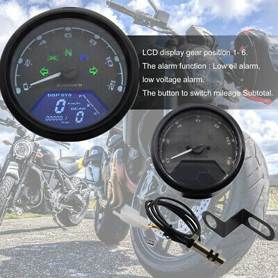 Universal Digital Motorcycle LCD Screen Speedometer Odometer Techometer Gauge
