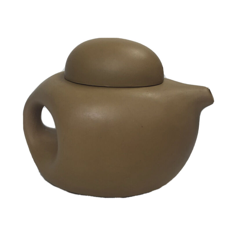 Yixing Teapot 6oz Chinese Mini Yellow Clay Oval Shape Single Tea