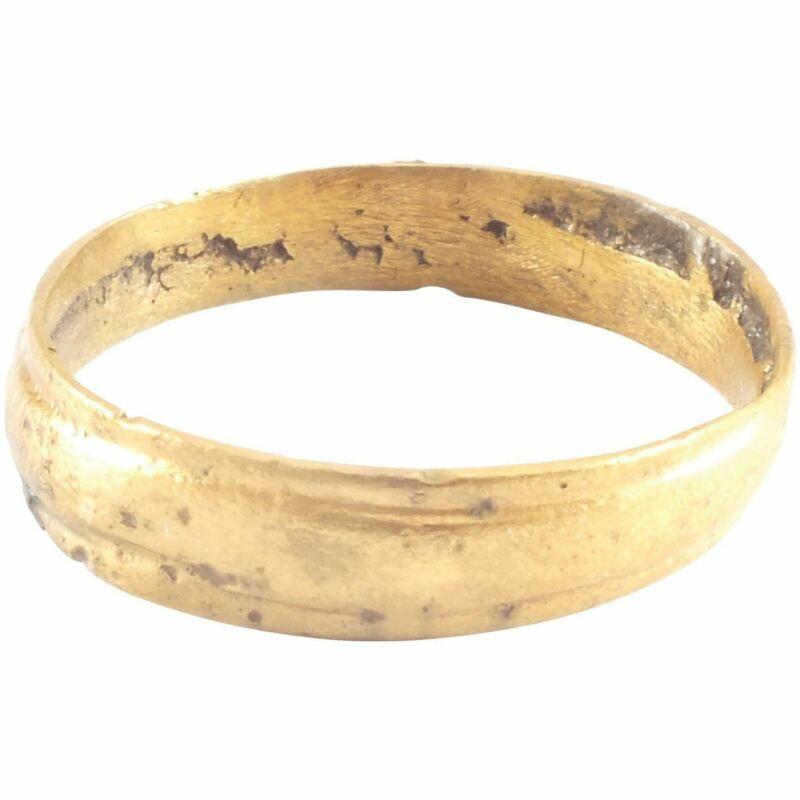 ANCIENT VIKING WEDDING BAND RING C.900-1000 AD SIZE 8 ½