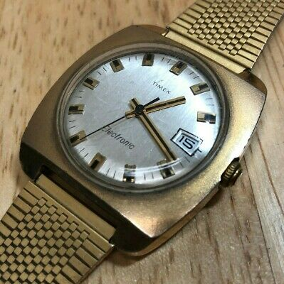 Vintage Timex Electronic Men Gold Tone Electric Loud Beat Watch Hour~New Battery