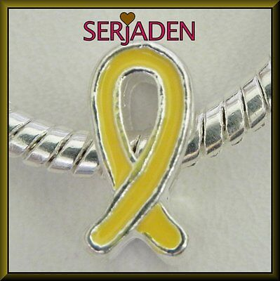 5 Yellow Awareness Ribbon Spacer Charm European Style 6 * 11 mm & 5 mm Hole S098 (Ribbon Awareness)