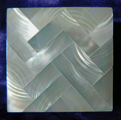 Vintage MOTHER OF PEARL Pill Box 2pc Square trinket snuff 1.5""