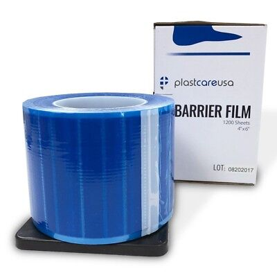 "Blue Barrier Film, Plastic Sheeting for Dental, Adhesive Lab 1200 4"" x 6"" Sheets"