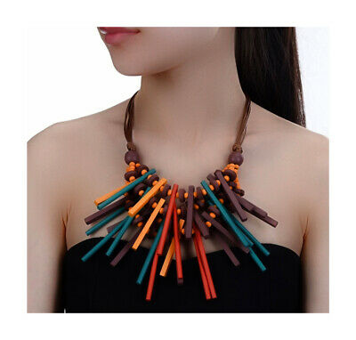 Nataliya Multicolor Handmade Wood Statement BiB Necklace