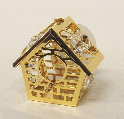 3092  Bird House Vogelhaus Swarovski Components Kristall 24 Karat Gold Crystal