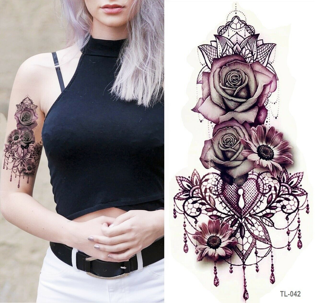 Blume Einmal Tattoos Blumen rose Temporäre Tattoo Body Sticker 19 x 9cm NEU!