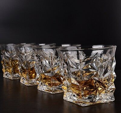 Set of 4 Crystal Unencumbered Whiskey Glasses Scotch Bourbon Luxury Tumbler Liquor 10oz