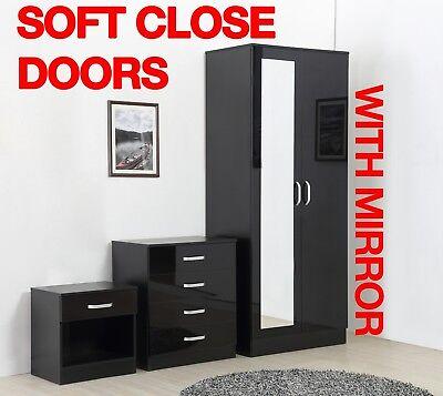 Mirror Black High Gloss 3 Piece Bedroom Furniture Set - Wardrobe Chest Bedside