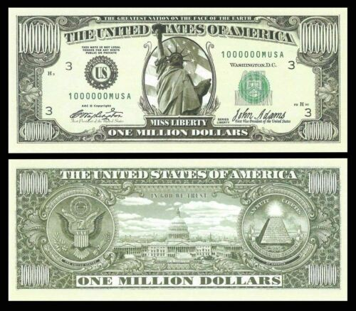 Set of 10 - The Traditional One Million Dollar Bill. Great Novelty Bill!