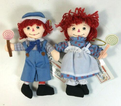 Kurt Adler Classic Raggedy Ann And Andy Christmas Ornaments Plush Lollypop