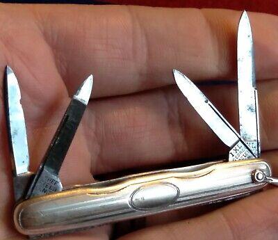 Vintage Antique Wostenholm IXL Sterling Silver 4 Blade Pen Folding Pocket Knife