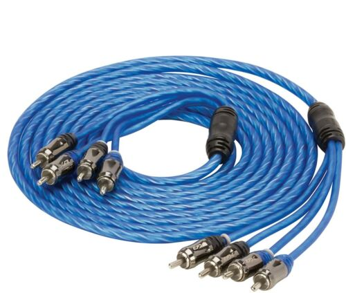 Blue 12 Feet 4 Channel RCA Interconnect Cable Stereo Wire Split Tip Center Pin