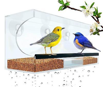 Window Bird Feeder: Large, Durable Acrylic, Self Draining * SEE BIRDS UP CLOSE!