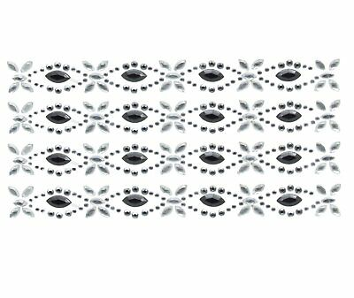 BLACK & CRYSTAL STRIP ACRYLIC  SELF ADHESIVE EMBELLISHMENT 4 PER SHEET - Acrylic Scrapbooking Embellishments