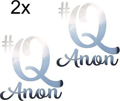 2X #QANON Sticker Aufkleber ca. 20x20 cm Trump 17 Q Anon Chrom WWG1WGA