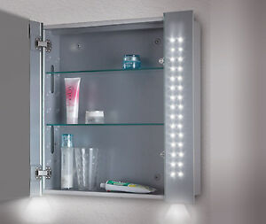 led illuminated bathroom mirror cabinet shaver bottom ambient lighting