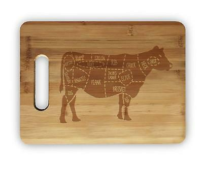 Laser Engraved Bamboo Cutting Board - Beef Cow Meat Map Laser Engraved Bamboo Cutting Board Wedding Housewarming Gift