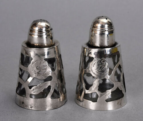1940s Mexican Pair of Salt & Pepper Shakers - Glass w/ Sterling Floral Overlay