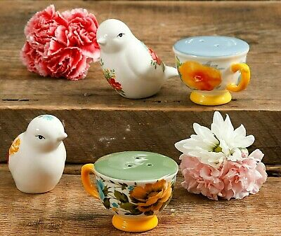 Pioneer Woman Stoneware Rose Shadow and Willow Tea Cups + Bird Set Salt & Pepper