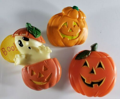 Vintage Halloween Brooches Pin Plastic Hallmark Jack O Lantern Ghosts 🎃