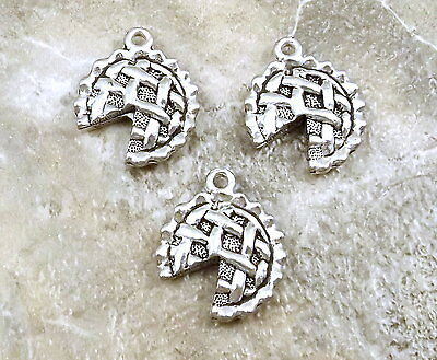 3 Pewter  APPLE PIE Charms - -