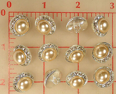 "144 vintage Czech rhinestone buttons silver metal pearl 5/8"" 16mm 138 wholesale"