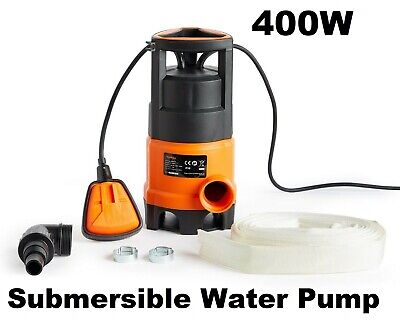 Submersible Flood Water Pump Swimming Pool Water Tank Drainage 8m Hose 400W New