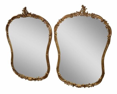 Pair of Vintage Matching Ornate Baroque Style Wall Mirrors