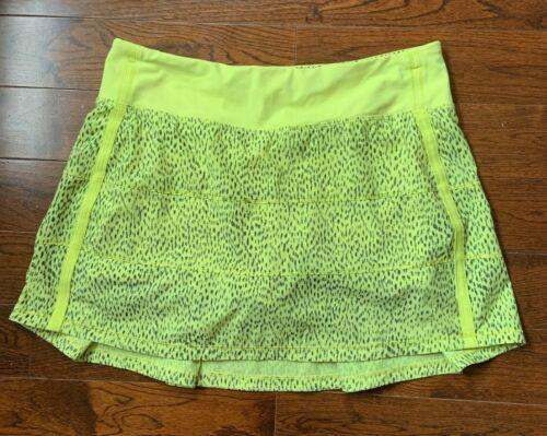 Lululemon Sz 6 Tall Pace Rival II Skirt Dotty Dash Clarity Yellow Black Run Gym