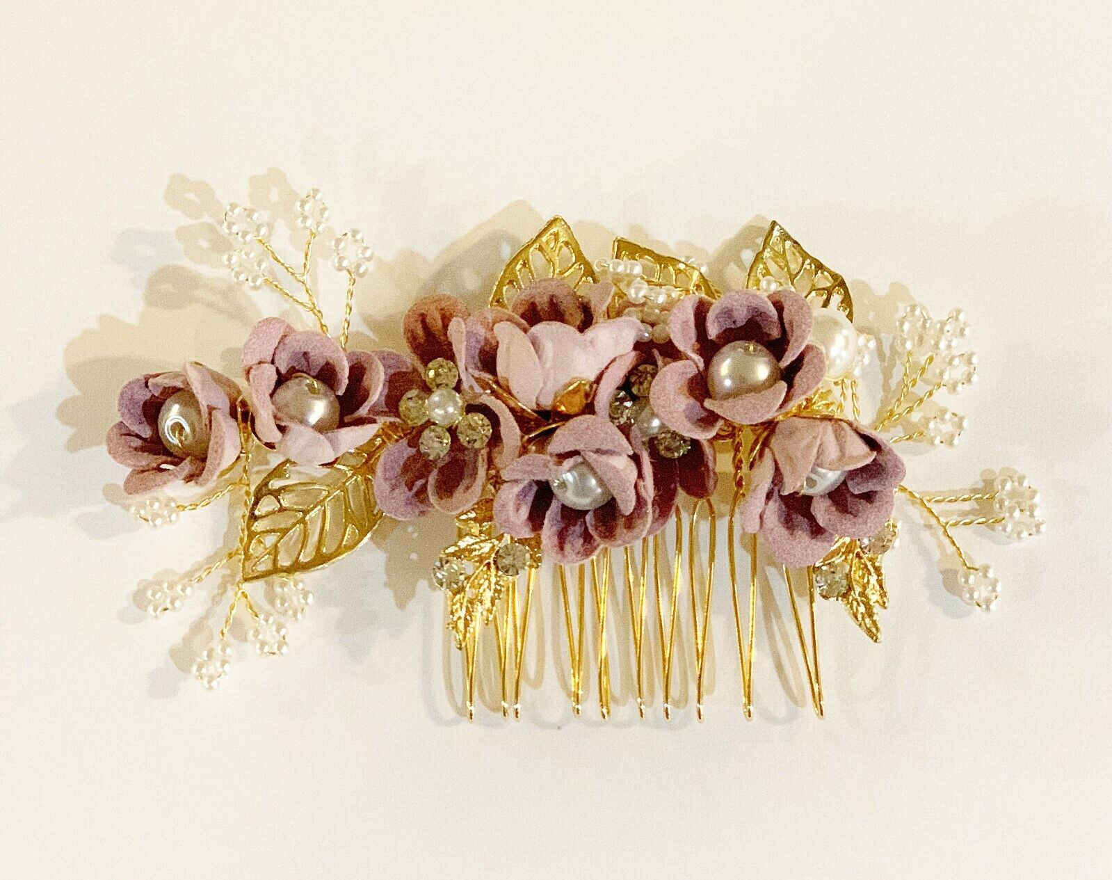Wedding Bridal Prom Hair Comb Crafted with gold leaves and F