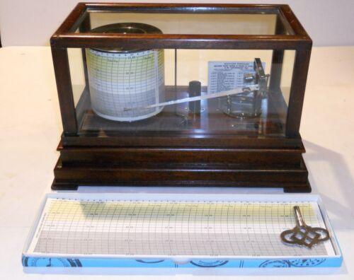 Vintage Taylor Cyclo-Stormograph Barograph Recording Barometer W/Charts And Ink