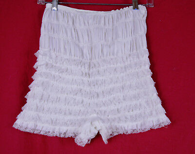 S M L Vintage Can Can Burlesque Bloomer Pants Ruched Ruffle Lace White