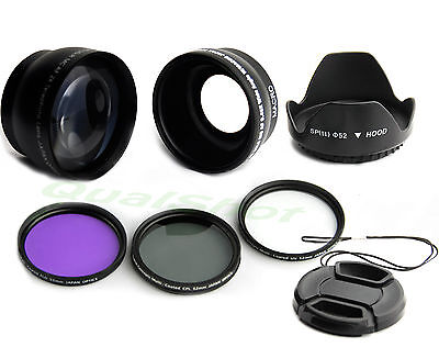 52mm .45 Wide angle +2X tele lens + filter Kit +Hood for Nikon D7000 D5100 D3100 for sale  Shipping to India