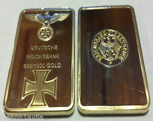 RARE-1-OZ-GERMAN-NAZI-999-PURE-24K-GOLD-CLAD-3RD-REICH-IRON-WWI-WWII-BULLION-BAR