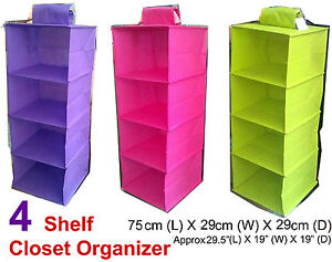 Wonderful Image Is Loading 4 Shelf Closet Organizer Wardrobe Storage Clothes Bin