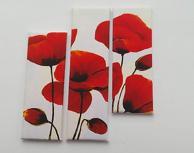 HANDMADE MINIATURE DOLLS HOUSE ACCESSORY CANVAS STYLE WALL ART PICTURE POPPIES 2