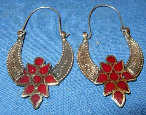 "Earrings Crescent Gemstone Afghan Kuchi Tribal Alpaca Silver 1 1/2"""