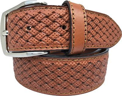 MENS ITALIAN CALF LEATHER BELT HONEY TAN 40MM BRAIDED EMBOSSED S,M,L,XL, - Italian Braided Belt