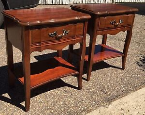 2 Wooden Malcolm French Provincial End Tables