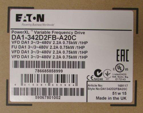 EATON DA1 342D2FB A20C 1HP 480V Power XL DC1 Variable Frequency Drive VFD