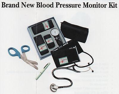 Deluxe Pro Blood Pressure Monitoring Set Stethoscope Sphygmomanometer Kit Light