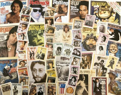 Lot 60! ROLLING STONE Magazine COVERS ONLY~Vtg 1960s&70s Repro Collage Scrap Art