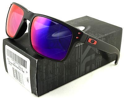 NEW OAKLEY HOLBROOK SUNGLASSES OO9102-36 MATTE BLACK /+ RED IRIDIUM LENS
