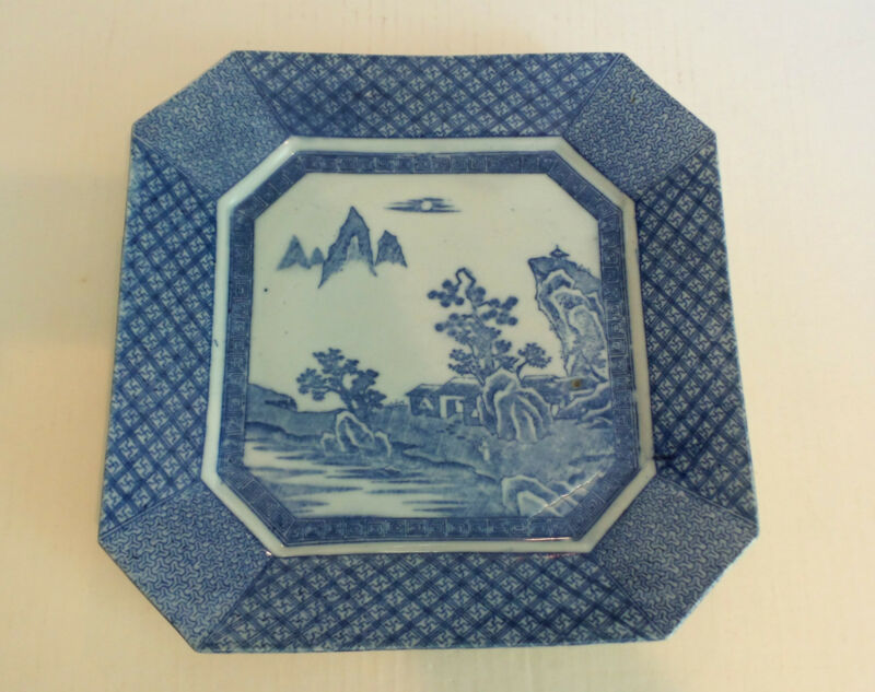 "19th C. ANTIQUE JAPANESE BLUE & WHITE 12"" OCTAGONAL PLATTER, MEIJI PERIOD"